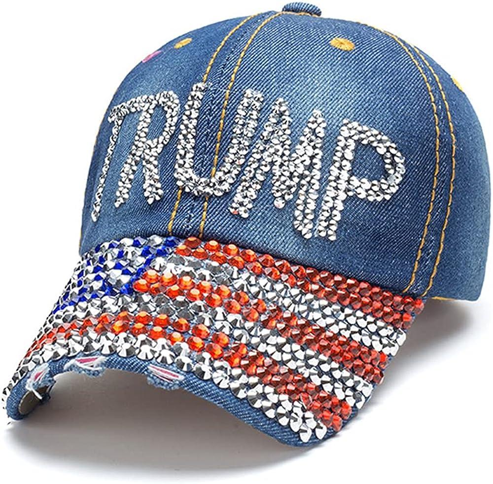 Gamusi Trump 2024 Baseball Cap Denim Distressed Bling Rhinestone Hat USA Flag Cap Adjustable Unisex