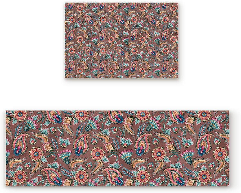 Libaoge Non-Skid Slip Rubber Backing Kitchen Mat Runner Area Rug Doormat Set, Paisley Doormats, Traditional Indian Pattern Carpet Indoor Floor Mats Door 2 Packs, 19.7 x31.5 +19.7 x63