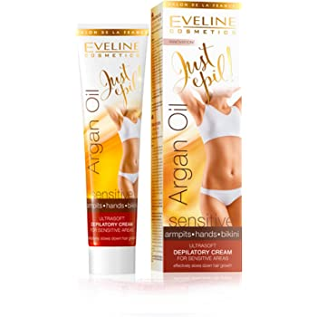 Eveline Justepil Argan Oil 9in1 Ultra Soft Cream Is Designed for Hair Removal Sensitive Areas Such As Underarms, Bikini or Hands