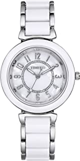 Time100 Womens Watches Fashion Diamond Natural Fritillaria Dial Black&Steel Acrylic Band Ladies Watch