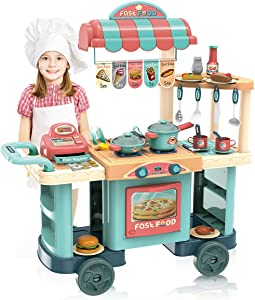 EPPO Play Kitchen Set for Kids - 62 PCS Kitchen Toys for Gourmet Food Cart , Kitchen Playset Pretend Food Birthday Gift for 3+ Year Old Toddlers, Girls & Boys