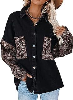 Sponsored Ad - Womens Jean Jacket Leopard Patchwork Long Sleeve Oversized Denim Jacket Button Down Shirt