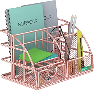 NiceGo Rose Gold Desk Organizer with Sliding Drawer,File Tray and Pen Holder Paper Organizer Upright Sections, Metal Mesh Multi-Functional Stationery Desk Supply Organizer for Office and School etc