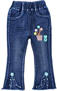 Peacolate 3-7T Infant Little Kids Girls Embroidery Jeans Denim Pants