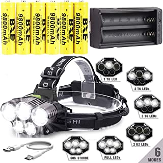 LED Rechargeable 12000 Lumens Headlamp Flashlight,Kit with 6PCS 3.7V 1500mAh Rechargeable Battery + Batteries Charger For Camping,Hiking, Outdoors