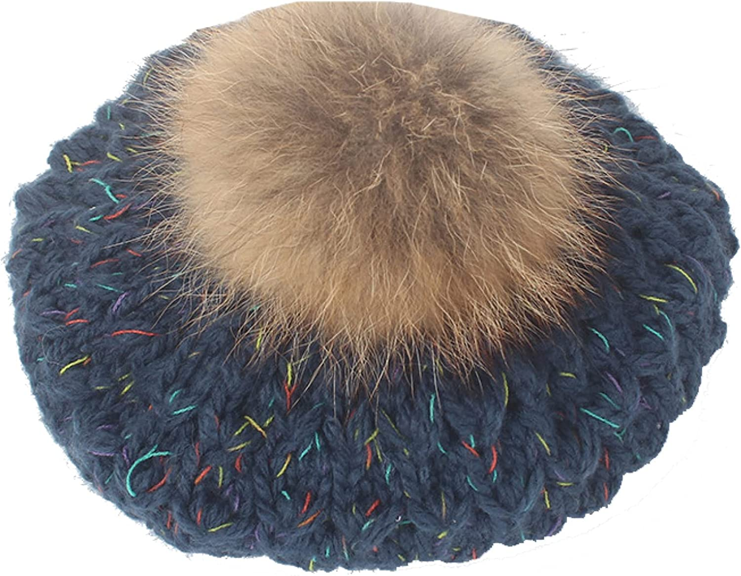 ASO-SLING Women Max 80% OFF Solid Color Crochet with Pom Beret Knitted Hats 25% OFF