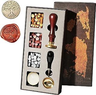 Kit de timbre de sceau de cire, Kit cadeau de timbres de cire à cacheter, timbre de cire de sceau rétro avec des perles de...