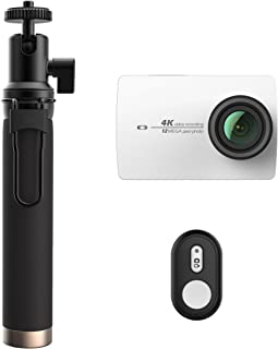 YI 90006 4K Action Camera with Selfie Stick & Bluetooth Remote (White Pearl)