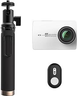 YI - Cámara de acción con Wi-Fi 4K 12megapíxeles 12 300 Color Blanco Kit con cámara + Palo + Mando a Distancia