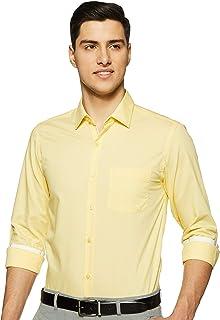 Diverse Men's Solid Slim fit Formal Shirt (DCMFF05SC09L04-38_Yellow 42)