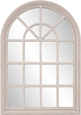 Howard Elliott Fenetre Windowpane Style Accent Wall Mirror, 29 x 41-Inch, Distressed Taupe Lacquer
