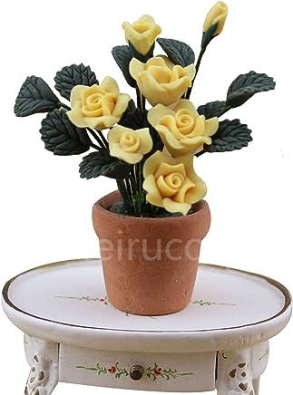 Dollhouse 1:12 Scale Mini decoration Purple flower Flowerpot 09944