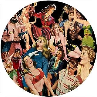 Slipmat Tapis antid/érapant en feutre pour platine vinyle LP DJ 30,5 cm Motif Tikki Huts Ambre