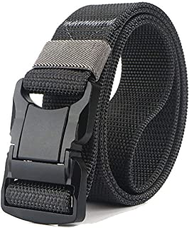 QAZSE Quick Release Mens Belt Nylon Tactical Military Style 1.5 inch Wide Heavy Duty Webbing Belts with Durable Metal Buckle