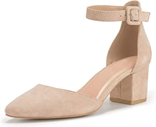 LAICIGO Women's Pointed Toe Pumps Ankle Strap Buckle Chunky Block Heel Dress D'Orsay Sandals