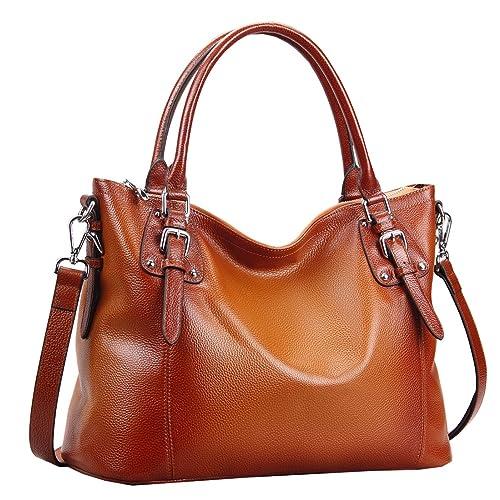 Heshe Womens Genuinne Leather Handbags Tote Top Handle Bag Shoulder Bag for  Women Crossbody Bags Ladies