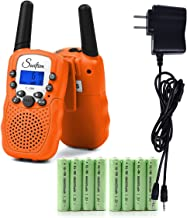 Swiftion Rechargeable Kids Walkie Talkies 22 Channel 0.5W FRS/GMRS 2 Way Radios with Charger and Rechargeable Batteries (Bright Orange, Pack of 2)