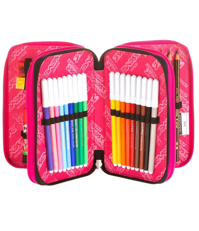 Estuche escolar completo con 3 cremalleras Seven Mandala, color negro y rosa: Amazon.es: Oficina y papelería