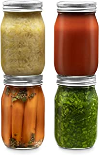 Glass Regular Mouth Mason Jars, 16 Ounce (4 Pack) Glass Jars with Silver Metal Airtight 1 Piece Lids for Meal Prep, Food S...