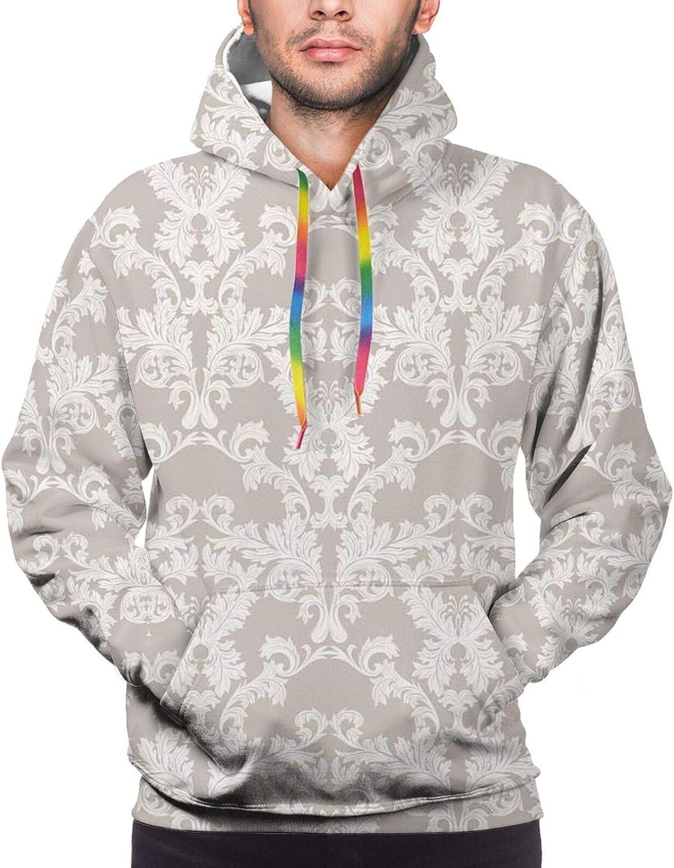 Men's Hoodies Sweatshirts,Nature Garden Romantic Victorian Flowers Roses Leaves Image