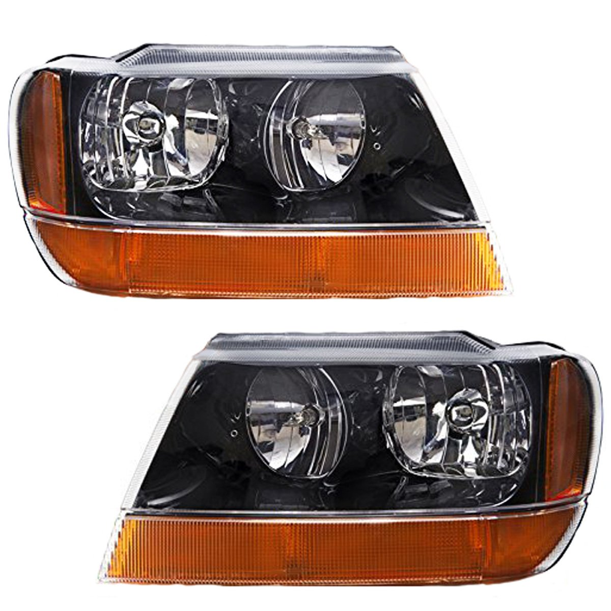amazon com headlightsdepot compatible with jeep grand cherokeeamazon com headlightsdepot compatible with jeep grand cherokee laredo new black headlights set w amber signal lights automotive