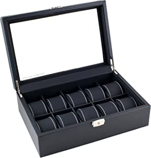 Caddy Bay Collection Black Carbon Fiber Pattern Watch Box Display Storage Case with Glass Top, White Stitching Perforated Soft Pillows Holds 10 Watches - White Stitching