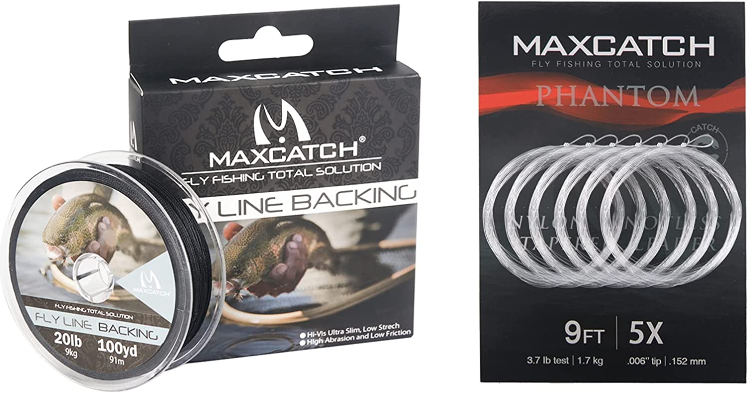 Maxcatch Braided Fly Line Backing Fishing 20lb Black+ cheap 100yds Deluxe