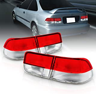 AmeriLite 2 Door Taillights 4 Pieces Red/Clear (OEM) for Honda Civic - Passenger and Driver Side
