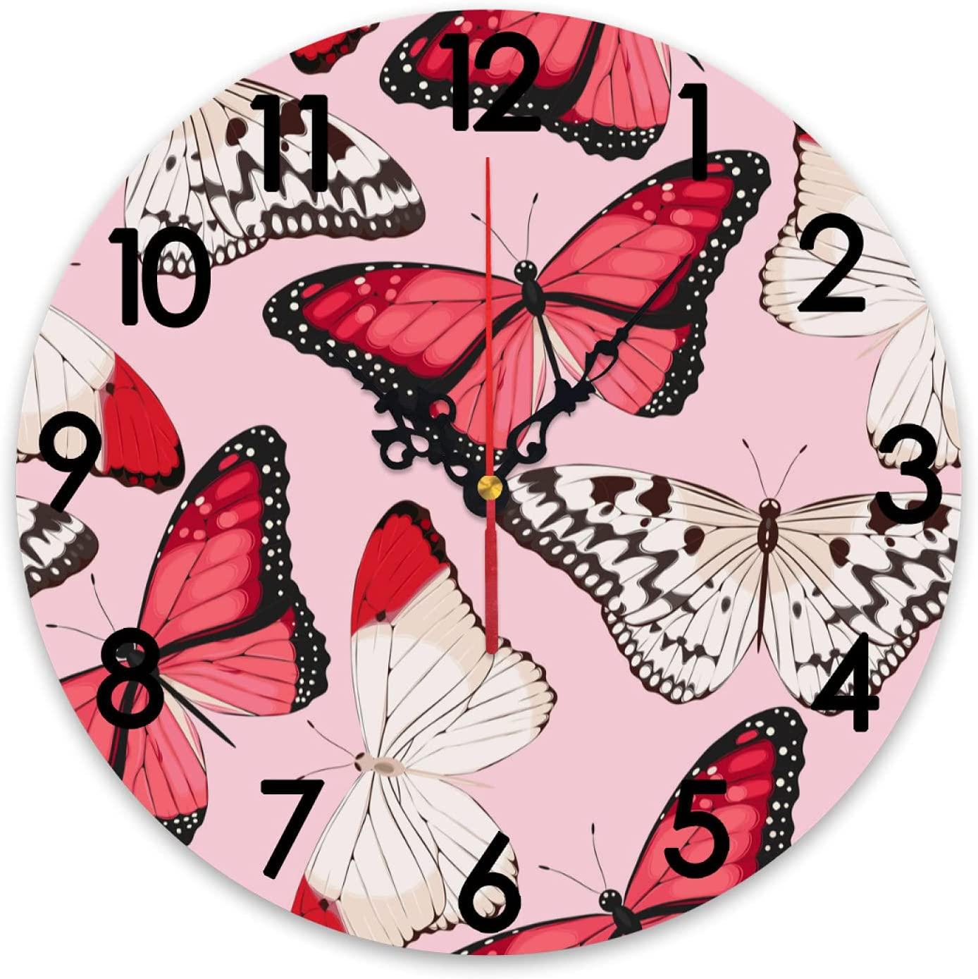 ZXZNC Wall Clock Large Ranking TOP20 Coral Butterflies Miami Mall Fashion Non Tickin Pink