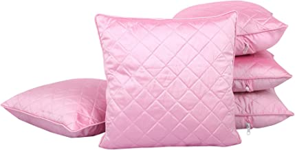 Clasiko Cushion Covers Set of 5 Light Pink Quilted; Raw Silk Fabric; 12X12 Inches; Color Fastness Guarantee
