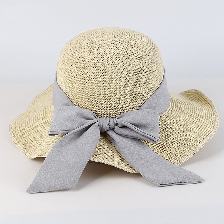 Women Summer Sun Hat Bow Straw Sun Hat (color   White, Size   57 cm)