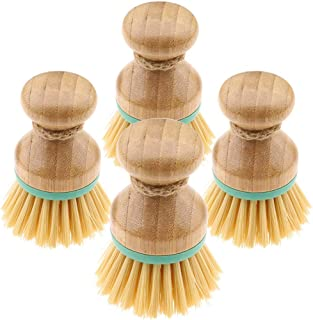 falllea Juego de 4 Cepillos para Fregar Platos de Bambú Limpieza del Hogar para Lavar Ollas, Sartenes, Platos y Cubiertos