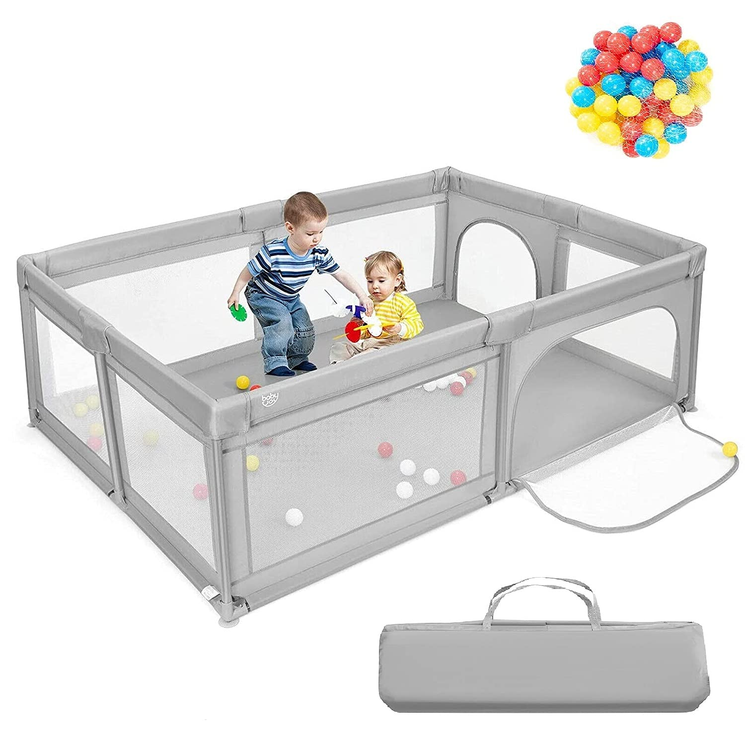 """Costzon Baby Playpen, Extra Large Playpen for Toddlers Baby, Portable Baby Fence with Safety Gates/50 Ocean Balls/Anti-Slip Suckers/Breathable Mesh Walls/Portable Bag, 81"""" x 58"""" x 27"""" (Grey)"""