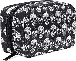 Travel Cosmetic Bag Gothic Skull Makeup Bag Zipper Storage Bag Portable for Ladies women's Travel Square Makeup Brushes Bag