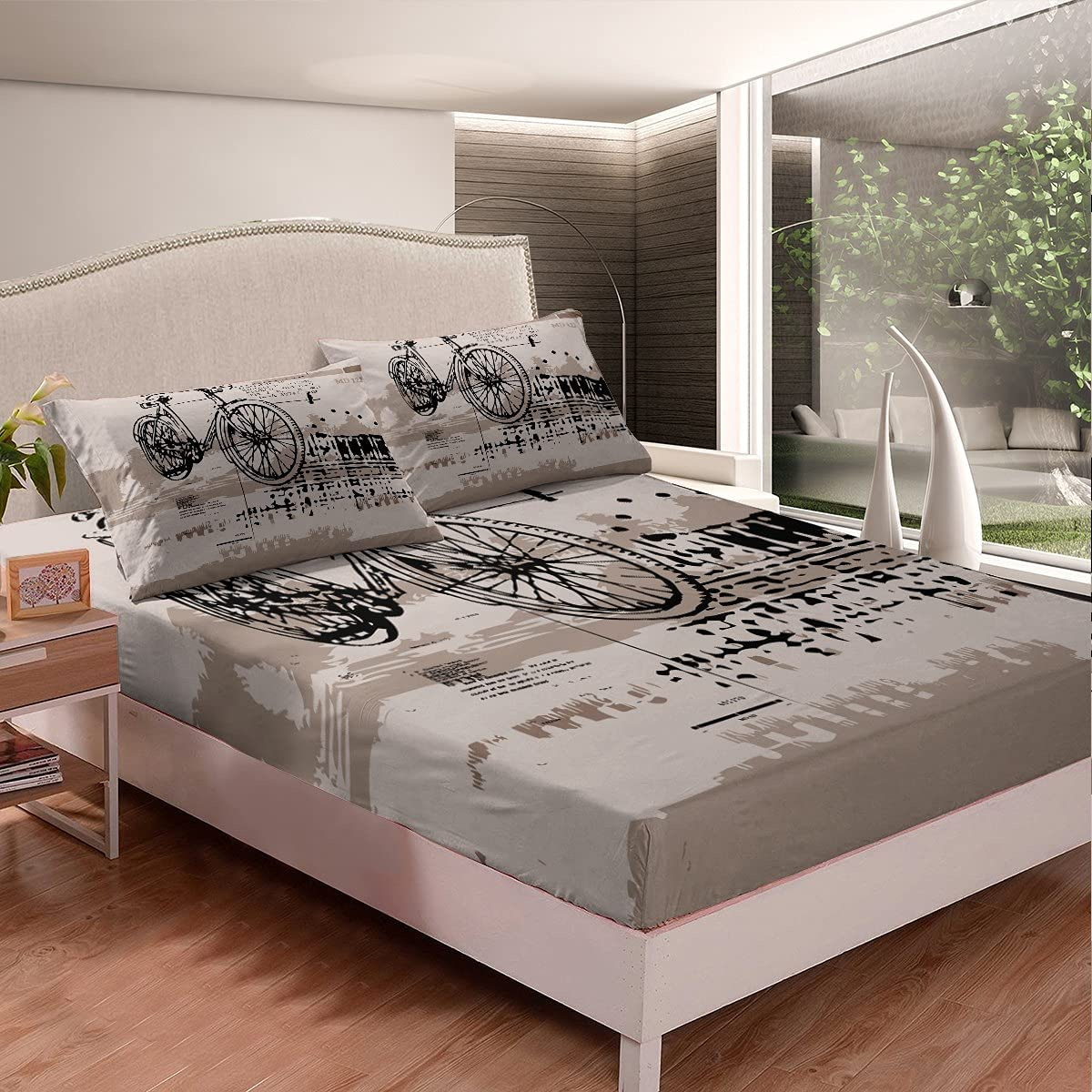Castle Fairy Bicycle Fitted Sheet 3 Fort Worth Mall Retro O Fits Pieces Many popular brands Mattress