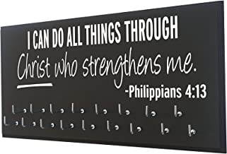 Running On The Wall - Race Bib and Medal Display - Bible Verse - Wall Mounted Sports Medal Holder & Hanger for Marathons - I can do All Things. Philippians 4:13