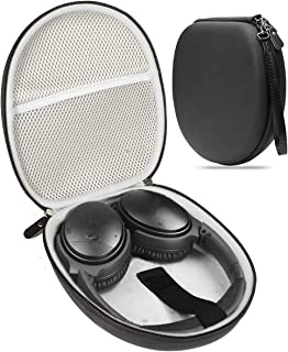 Alltravel Headphone Case Compatible with Bose QC35, QC25, QC15, QC3, QC2, Sony MDRXB950, MDRXB650, MDRaccessories, Elastic Secure Strap, Matte Black Surface with Plush Lining