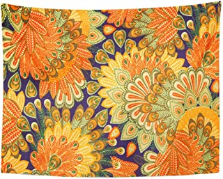 Emvency Tapestry Artwork Wall Hanging Orange 1970S Vintage Pattern Close Up Blue Paisley Floral Seventies 60S 1960S Flower 60x80 Inches Tapestries Mattress Tablecloth Curtain Home Decor Print