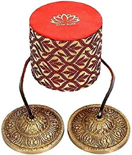 Holy Buddha Lotus Symbol Mantra engraved Manjira Tingsha Cymbals-Beautiful Gift Box for Meditation,Pray,Yoga,Sound healing, 7.5cm / 3
