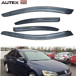 AUTEX 4 Pcs Tape On Window Visor Compatible with Volkswagen Jetta Sedan 2011 2012 2013 2014 2015 2016 2017 2018 Window Deflector Visor Sun Rain Shade Wind Guard, Made in Taiwan