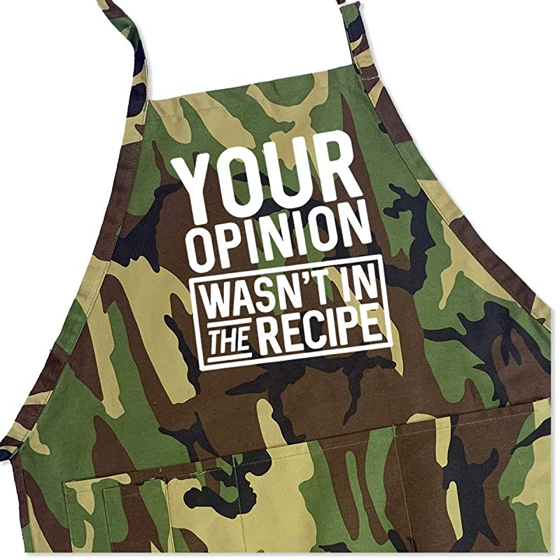 BBQ Grill Apron Your Opinion Wasn T In The Recipe Funny Apron For Dad 1 Size Fits All Chef Apron Cotton 4 Utility Pockets Adjustable Neck And Extra Long Waist Ties