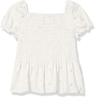 Speechless Girls' Short Sleeve Peplum Smocked Top