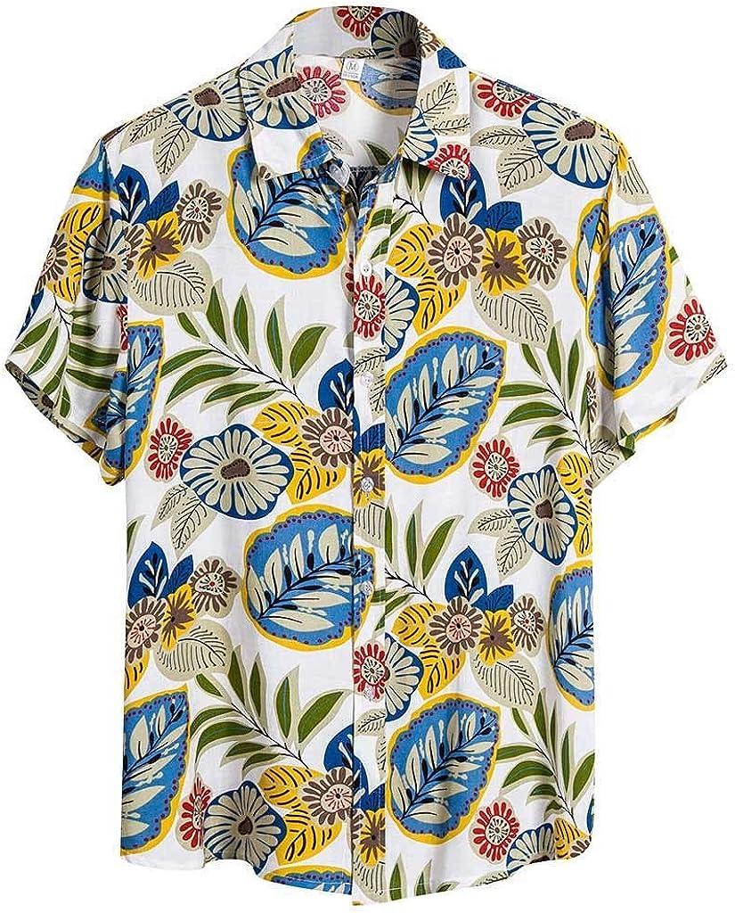 Men's Hawaiian Ethnic Print Short Holiday Beach Max 89% OFF Top Sleeve Cotto Industry No. 1