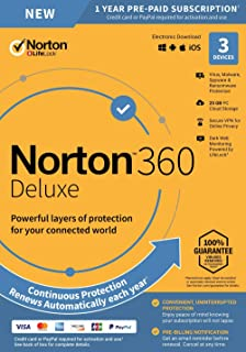 NEW Norton 360 Deluxe – Antivirus software for 3 Devices with Auto Renewal - Includes VPN, PC Cloud Backup & Dark Web Monitoring powered by LifeLock [PC/Mac/Mobile Key Card]