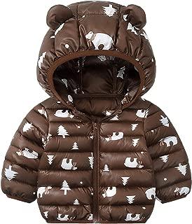 Xifamniy Infant Unisex Babies Cotton-Padded Jacket Cartoon Animals Shape Hooded Coat Brown