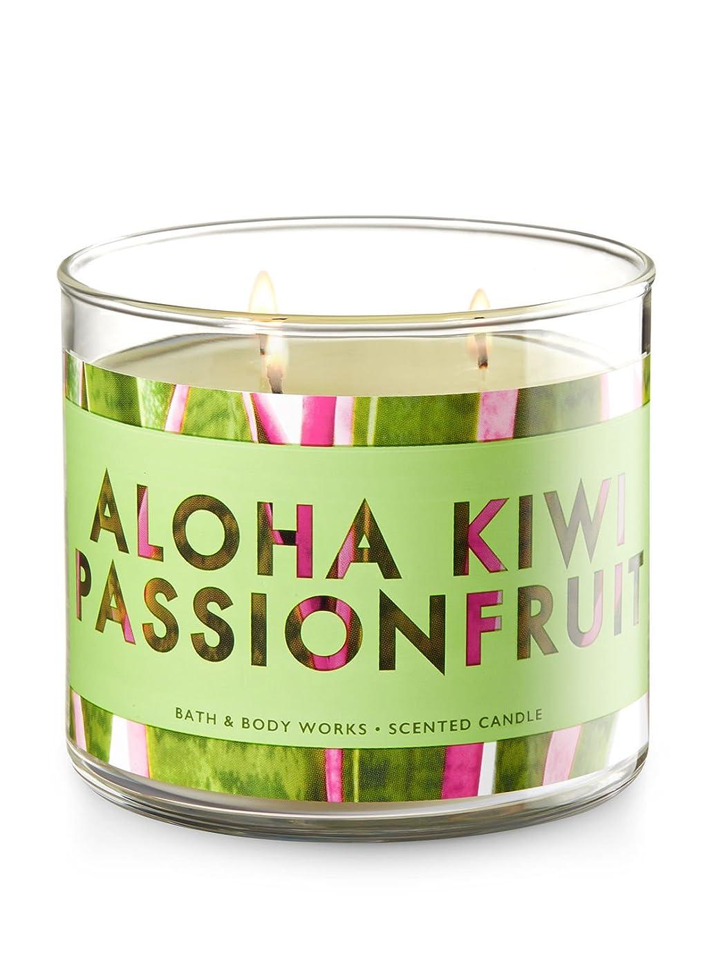 カロリー同一性アーティストBath and Body Works 3 Wick Scented Candle Aloha Kiwi Passionfruit 430ml
