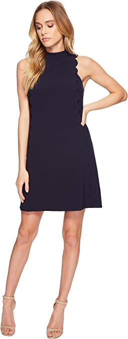 Scallop Shift Dress with Mock Neck