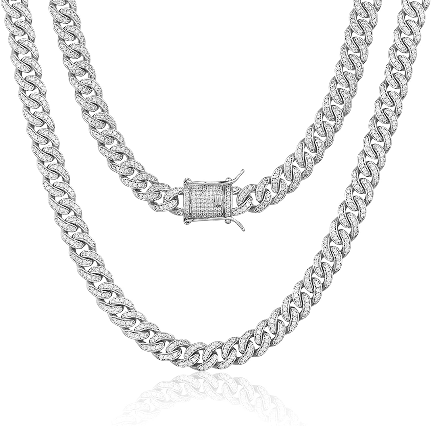 Time sale TRIPOD Elegant JEWELRY 8mm 14K or White Gold Plated Diamond Out Iced Cub