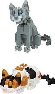 Nanoblocks 2 Sets - Famous Cats - Russian Blue and Calico Cat - Bundled Sets (Japan Import)
