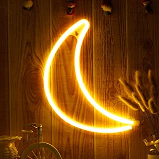 OYE HOYE Decorative LED Moon Shaped Neon Sign Lights with Warm White Lamp-Neon Night Light Operated by Battery/USB for Children's Room Party Christmas Wedding Decoration